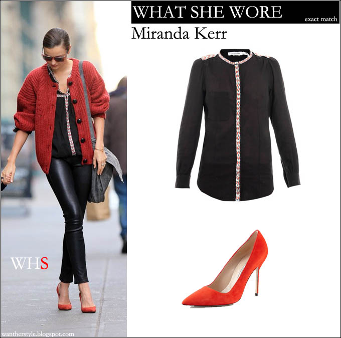 What She Wore Miranda Kerr In Red Knit Sweater With Black Silk