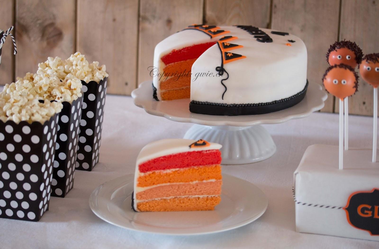 sweet table, oranges velvet cake, cake pops, popcorn, fondant torte