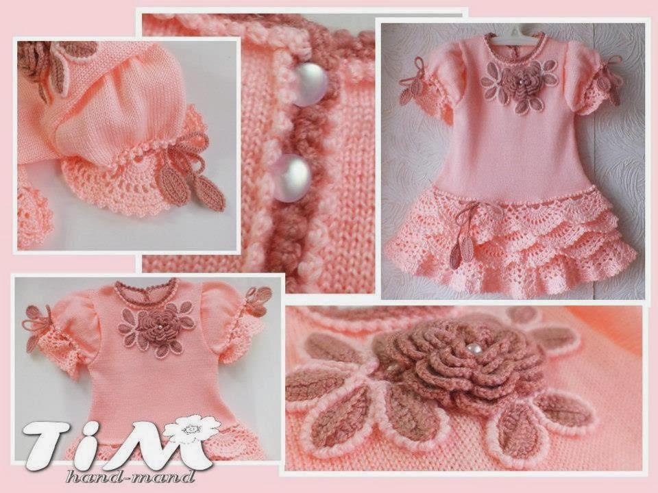 Как украсить вязаное платье для девочки своими руками 50