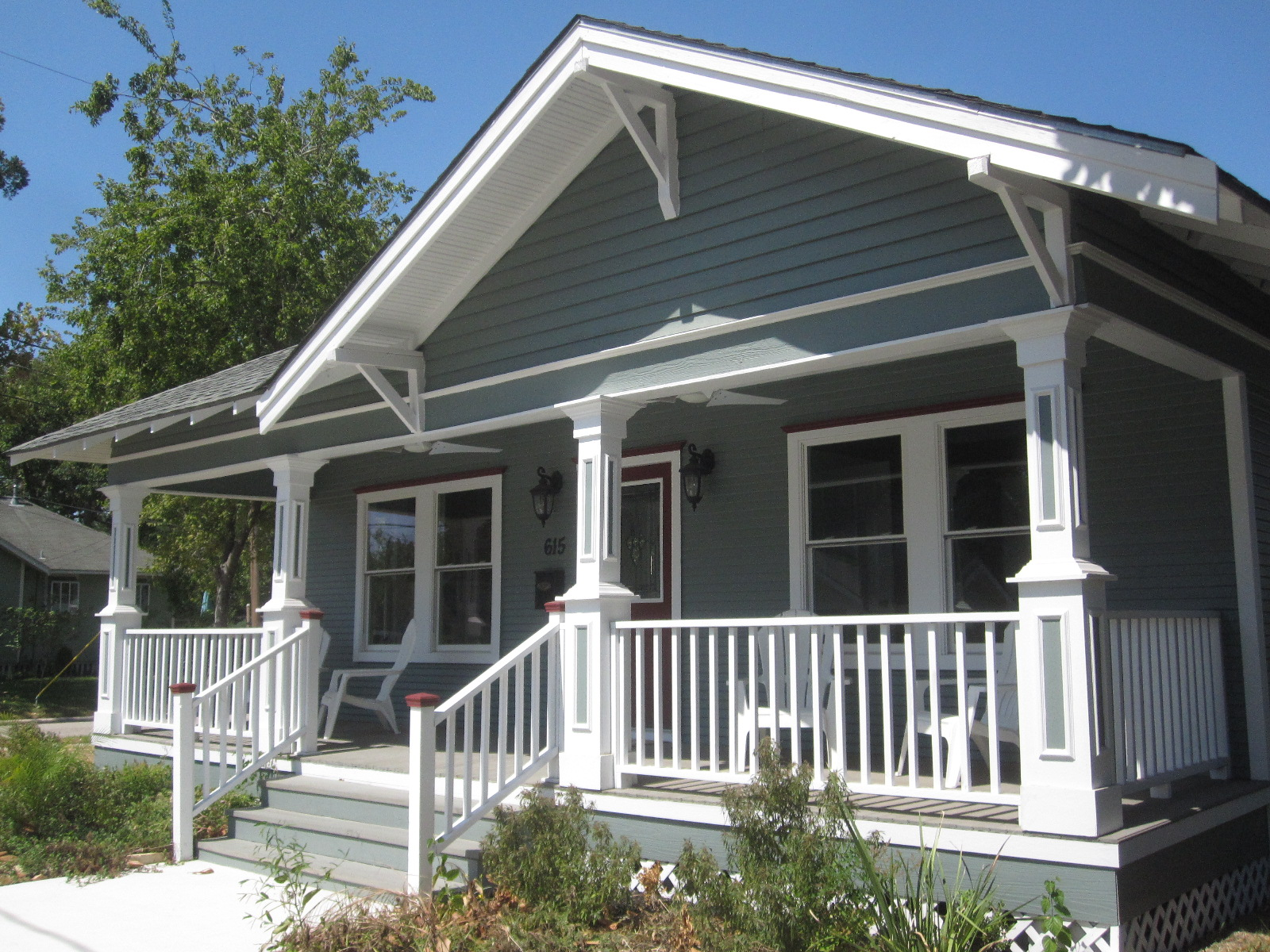 The other houston cozy bungalow porches for Porch designs for bungalows uk
