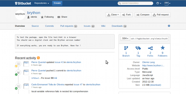 Brython @ Bitbucket