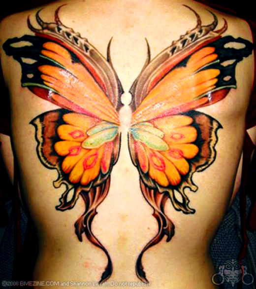 Girl With Butterfly Wings Drawing Above This Butterfly Tattoo