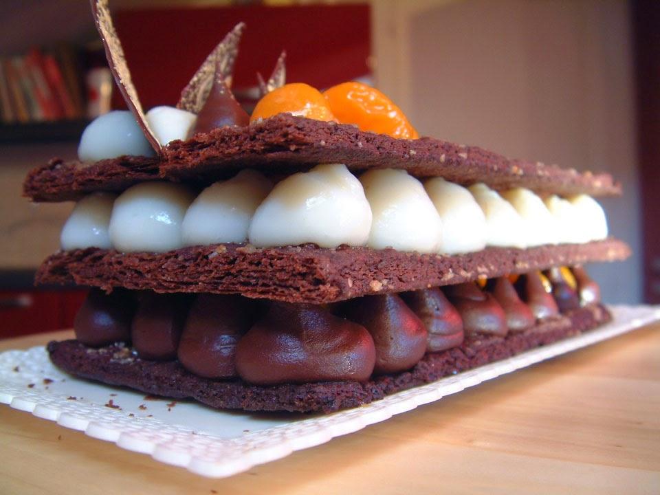 millefoglie al cioccolato e clementine caramellate