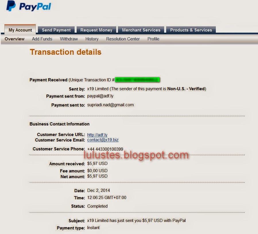 Bukti pembayaran adf.ly