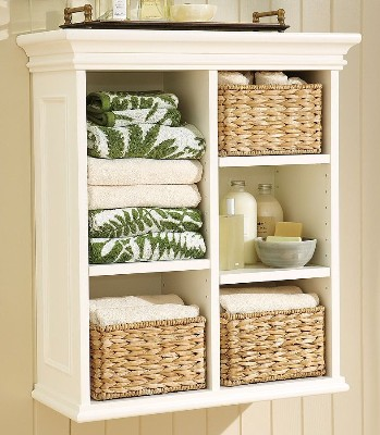 on a bath shelf wicker storage baskets look and function nicely