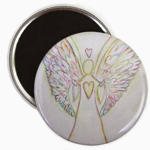 Rainbow Hearts Angel Magnet