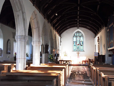 Inside of St Symphorian church, Veryan, Cornwall