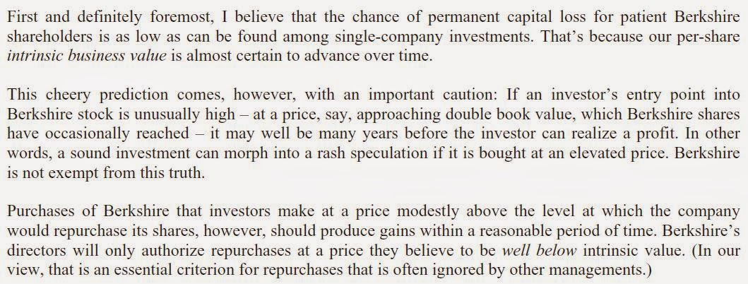 the brooklyn investor berkshire hathaway annual report  he says 2x bps is an unusually high price that might make even brk a rash speculation so we know that 1x bps is very cheap