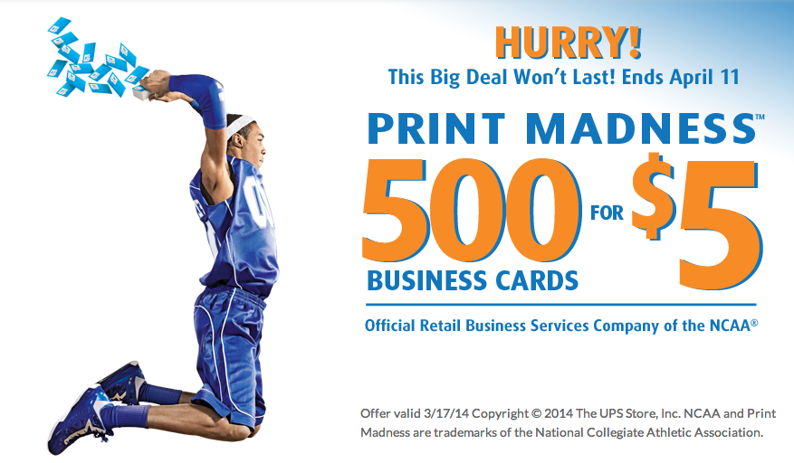 Free is my life deal 500 business cards for only 5 for the ups dont miss the deals during the ups stores print madness promotion reheart Image collections