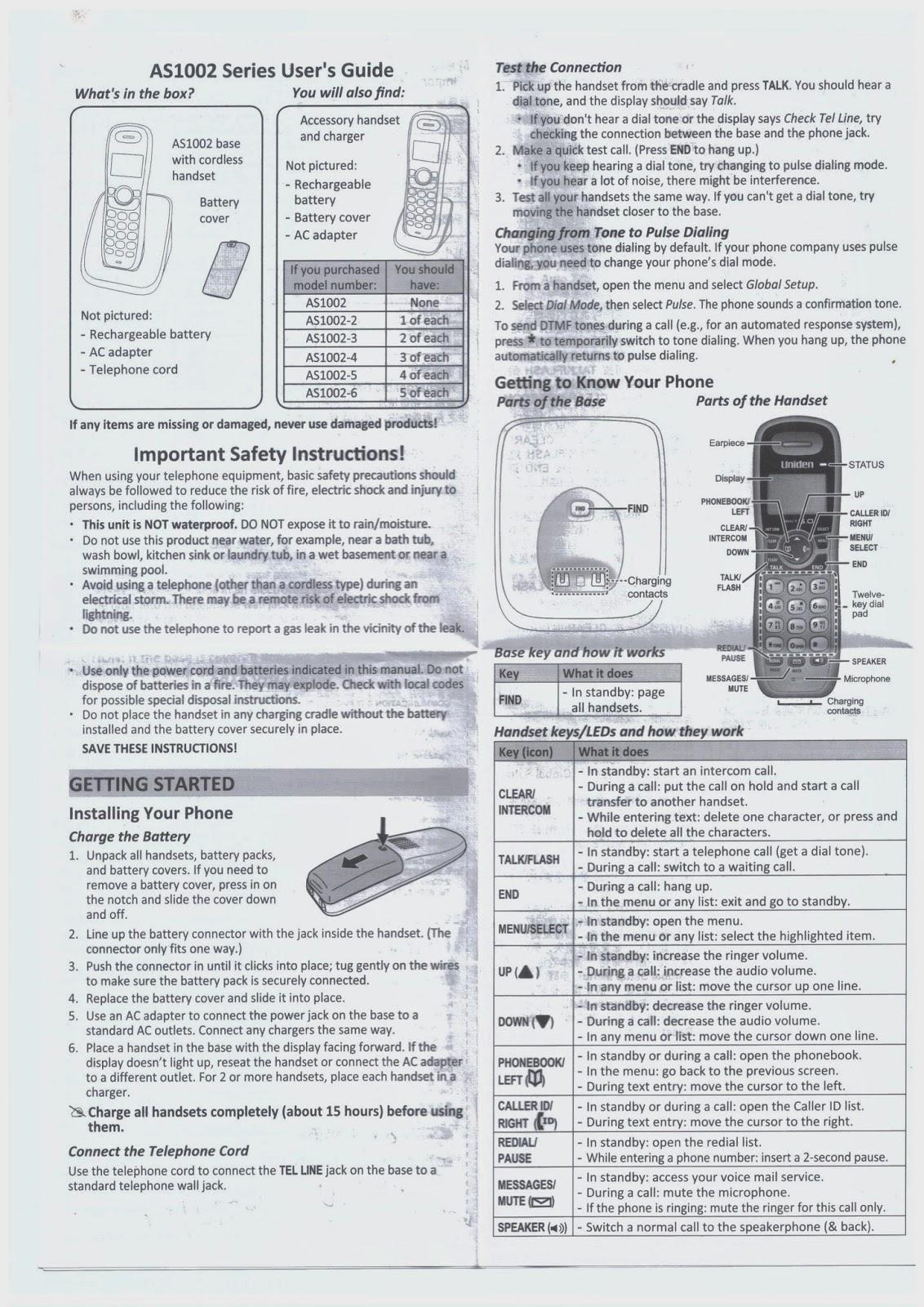 healthy living 123 uniden as1002 digital dect cordless phone rh hl123 blogspot com uniden handset user manual uniden telephone user manual