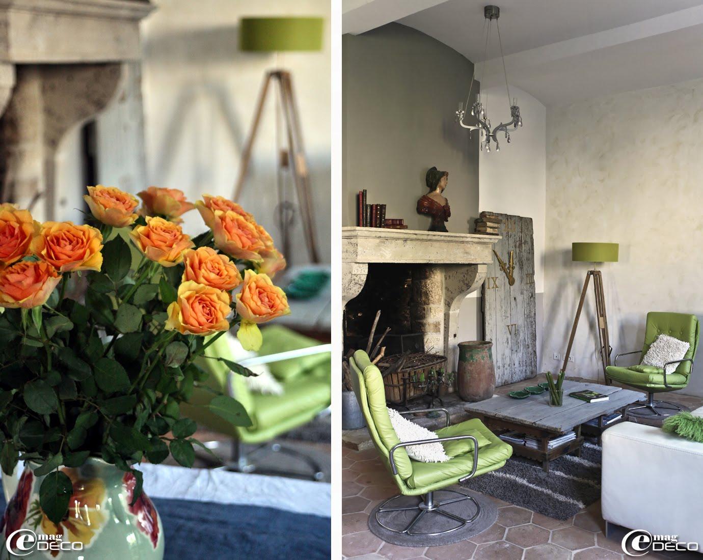 Une paire de fauteuils vintage pivotants relookés avec du cuir de couleur anis, maison d'hôtes 'Les Nomades Baroques' à Barjac