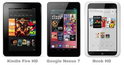 Kindle Fire HD, Google Nexus 7, Nook HD