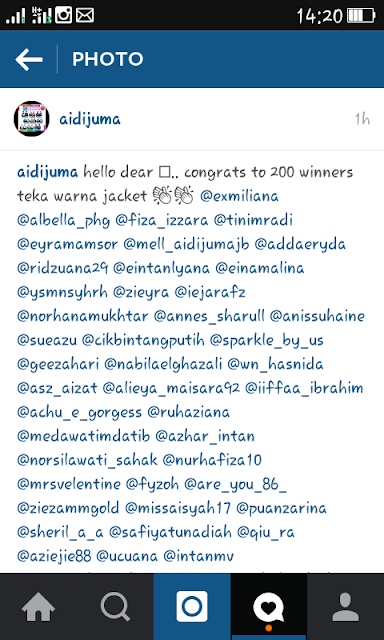 Menang Contest Instagram Aidijuma