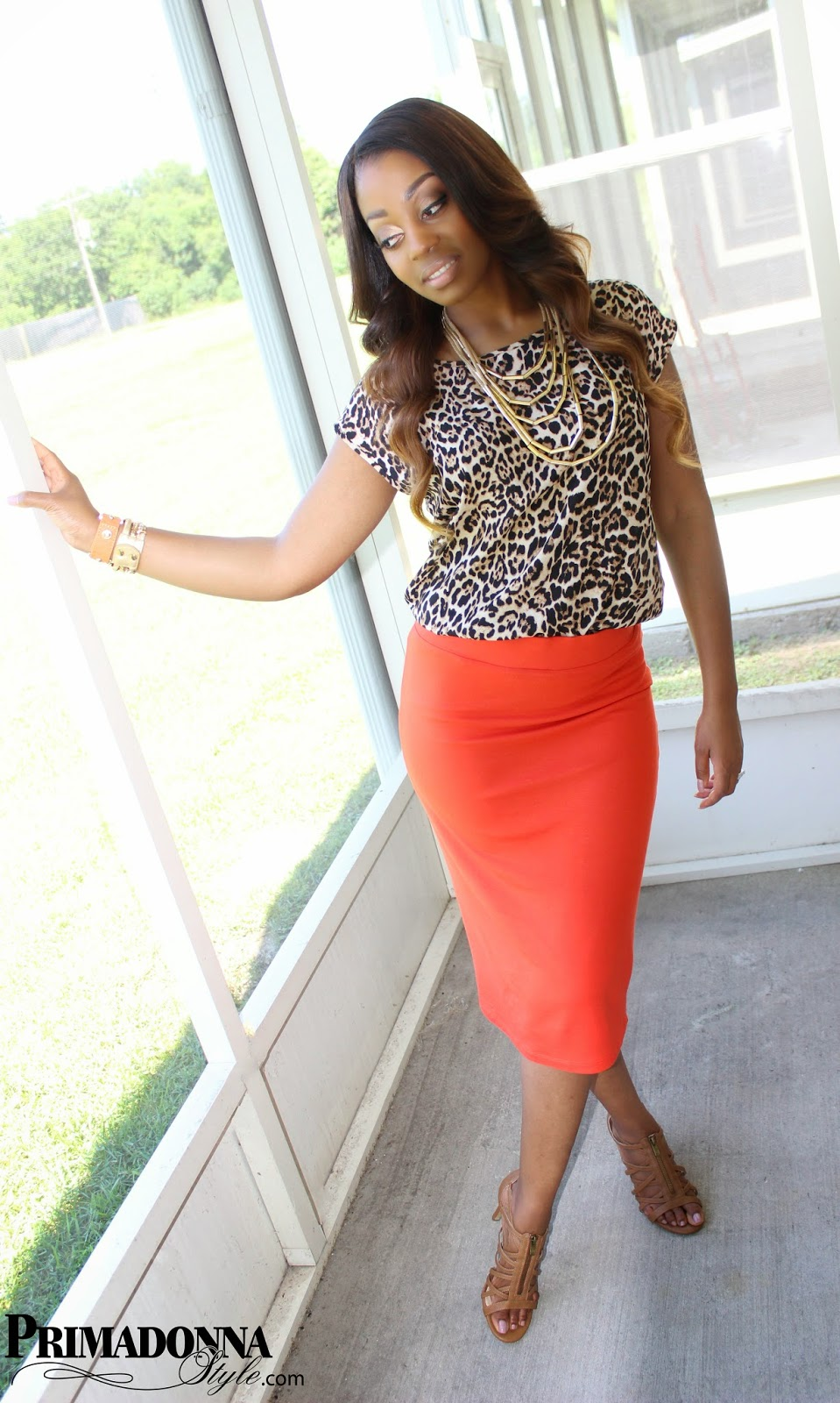 Love & Haight Hi-Low Animal Print Top Apt. 9 (Tangerine Tango) Midi Pencil Skirt Rampage Carnival Sandal (Tan) Forever 21 Sleek Layered Necklace Rampage Carnival Sandals Tan BCBGeneration Affirmation Bracelet Capsule by Cara Bracelet Brazillian Ombre Hair