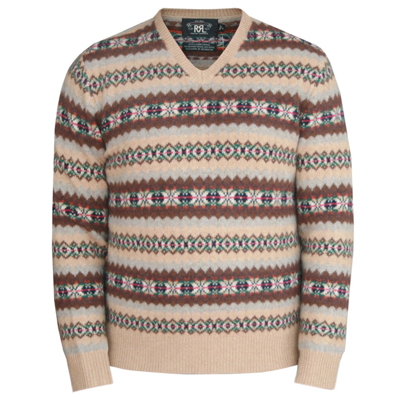 18dee80bd ... netherlands rrl ralph lauren 395 fair isle highland wool elbow patch double  rl sweater new 18677 ...
