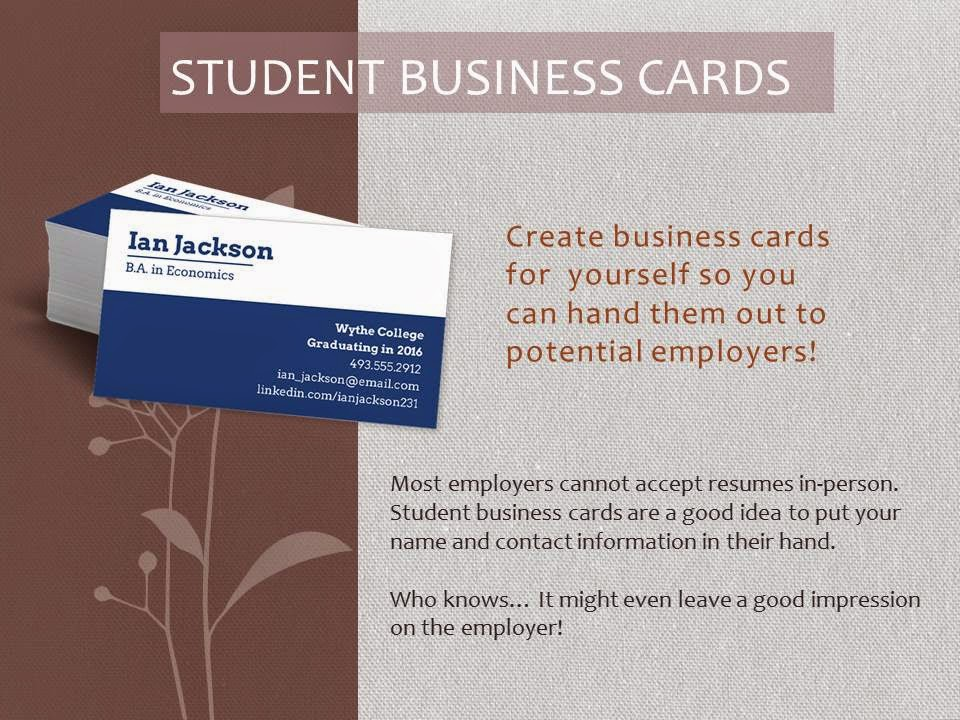 Student Business Cards What To Include Images - Business Card Template