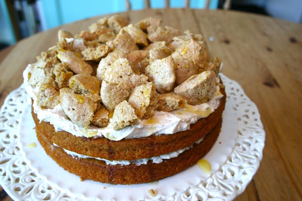 ... Kitchen: pumpkin cake with chestnut cream and almond meringue topping