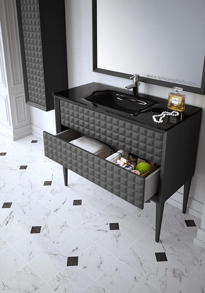 mueble de bao con textura capiton