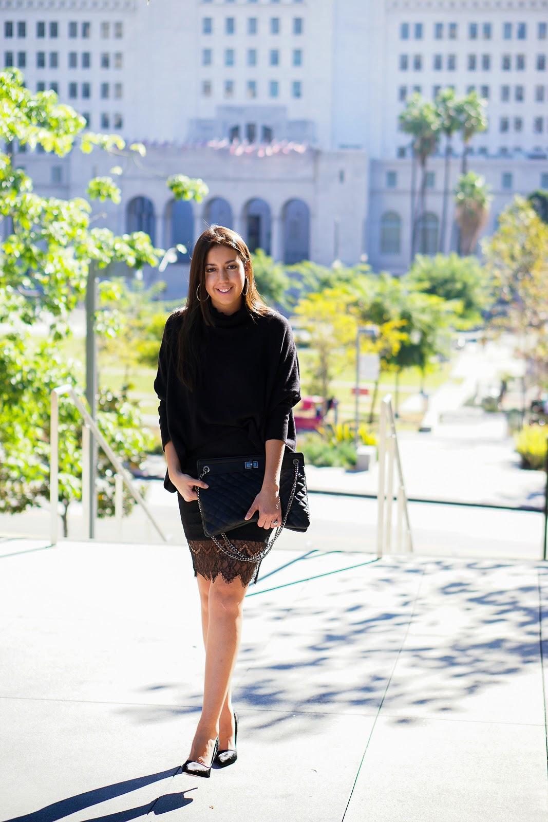 Kardashian Kollection black lace skirt, Black Lace Skirt, Black Pumps, Black Heels, Forever 21 Black Clutch, Oversized Sweater, Pencil Skirt, Lace Skirt, How to wear a Lace Skirt, Kardashian Kollection