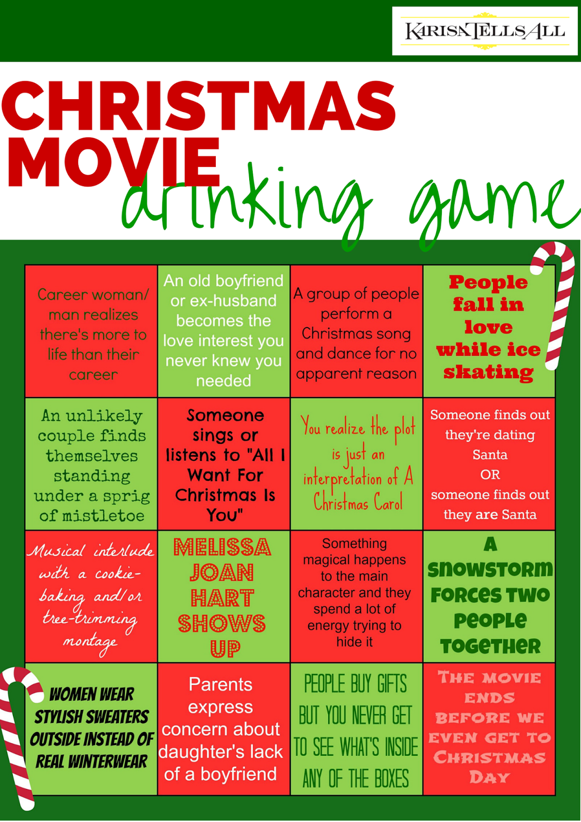 Karisa Tells All: A Festive, Made-for-TV Christmas Movie Drinking Game