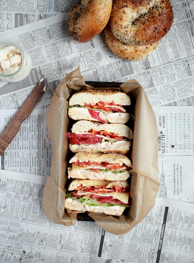 bagel, sandwich, receta sana