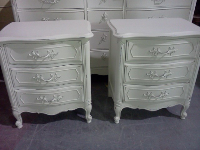 Delicieux A Customer Found These Tables Online And Brought Them To The Warehouse For  Us To Paint. She Loves Shabby Chic. We Painted Them Off White And  Distressed The ...