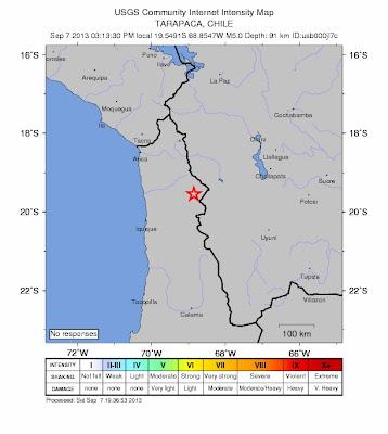 Epicentro sismo 5,2 grados, norte de Chile, 07 de Septiembre 2013