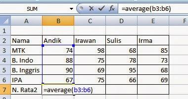 Rumus mencari nilai rata-rata Excel