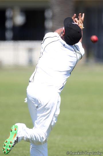Indika Senarathme, Hawke's Bay, misses a catch near the boundary - cricket vs Taranaki at Nelson Park, Napier. photograph