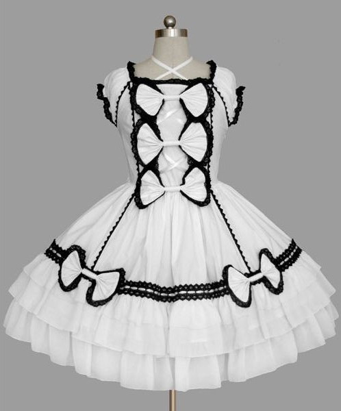 black and white Criss-Cross Bow gothic lolita dress