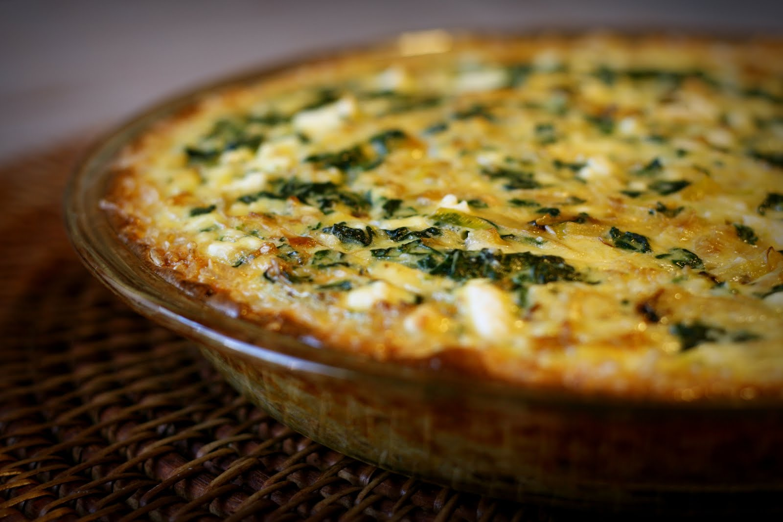 Spinach, Leek & Feta Quiche with Brown Rice Crust..
