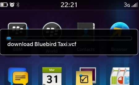 Trasfering contact via Bluetooth