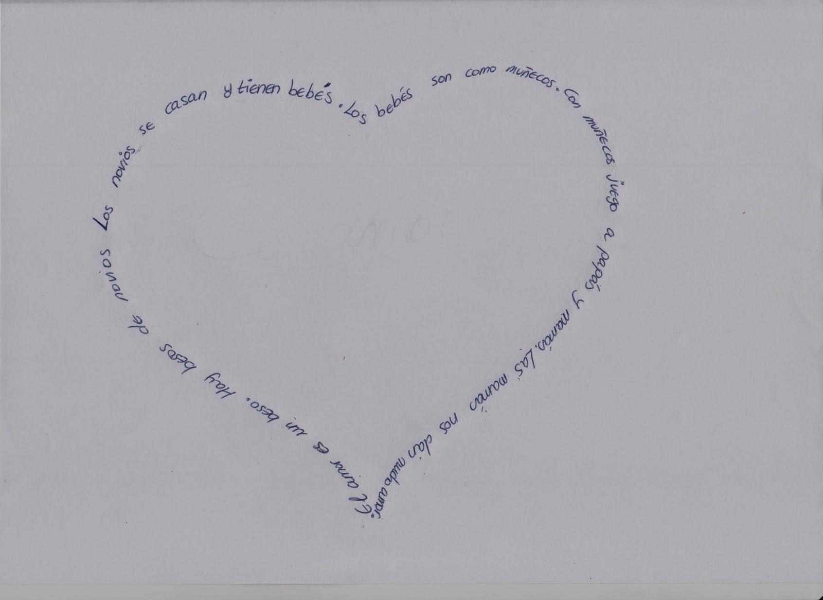 Este texto es un caligrama, pues tiene forma de corazón, formado por