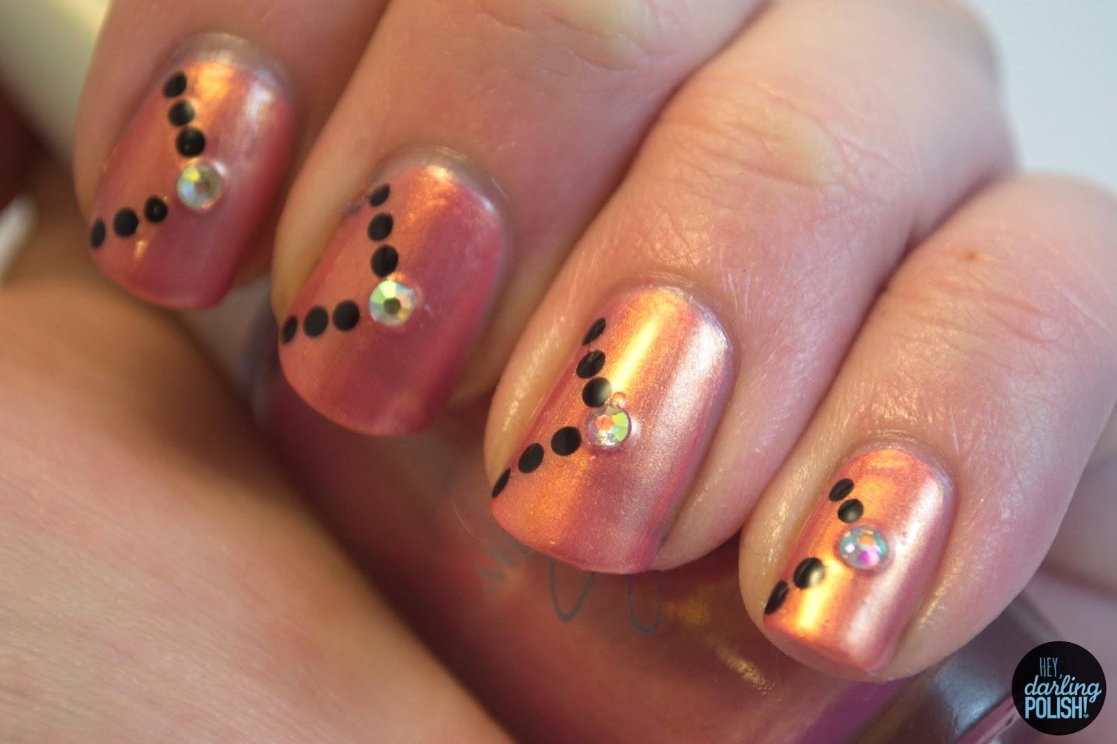 nails, nail polish, nail art, pink, black, rhinestones, golden oldie thursdays, dots, hey darling polish