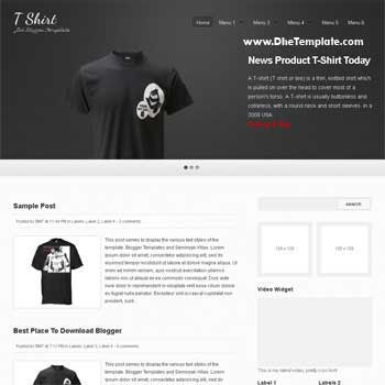 T Shirt Blogger Template. blogger template for online store. image slidesow blogger template