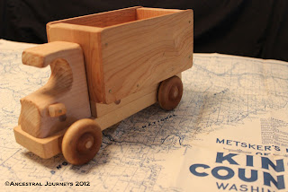heirloom, artifact, toy, wooden toy, toy truck, map, King County, Washington, antique, stock photo, blogging, Ancestral Journeys