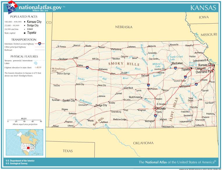 Kaart Staten Midwest Verenigde Staten Kaart Kansas En