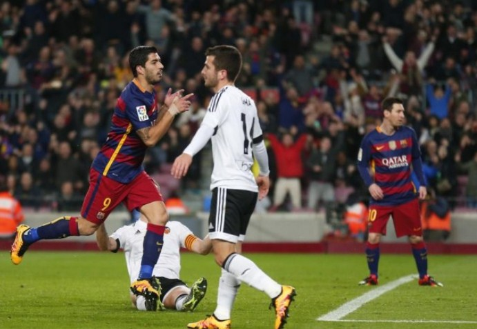 Luis Suarez recorded a quattrick and Lionel Messi hat-trick
