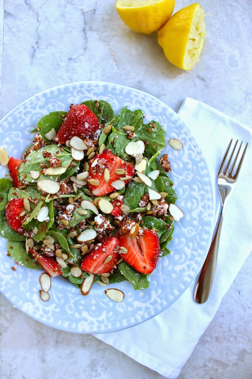 ... spinach strawberry salad with coconut quinoa and honey lemon dressing