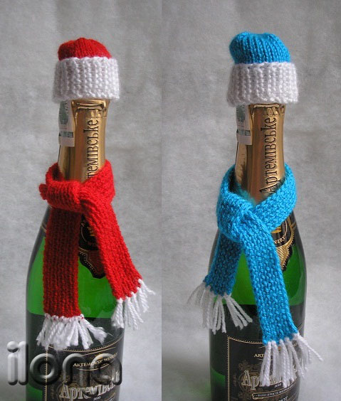 Шапка на бутылку шампанского своими руками 30