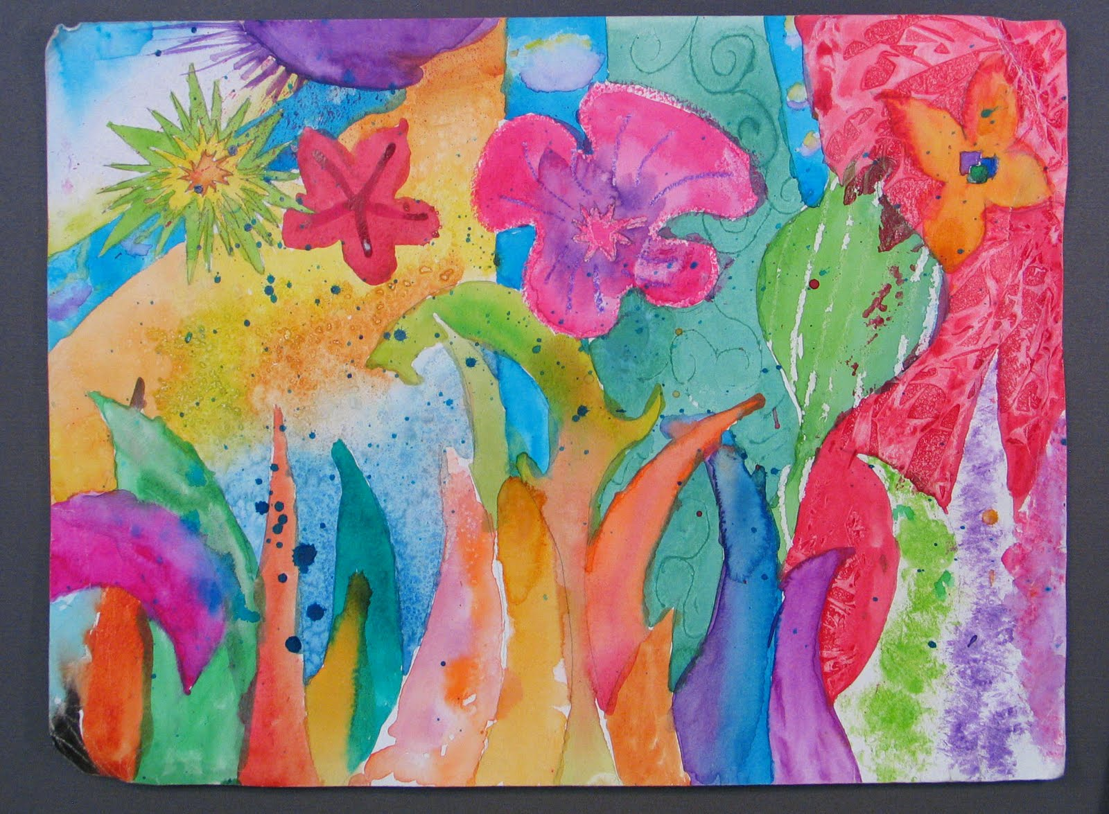 This is an abstract watercolor that sorta looks like a garden with the