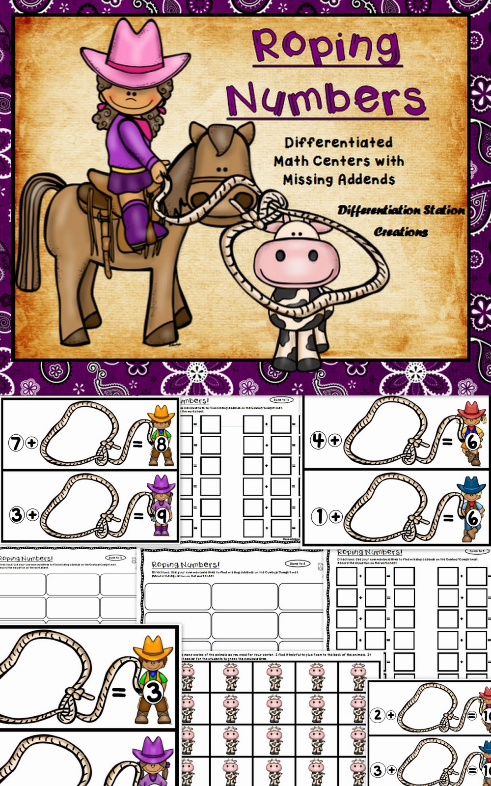 http://www.teacherspayteachers.com/Product/Roping-Numbers-Math-Centers-with-Missing-Addends-Differentiated-1262085