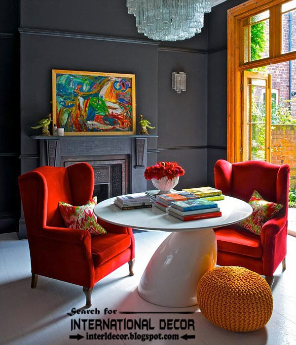 color combinations with red color in the interior, red furniture chairs