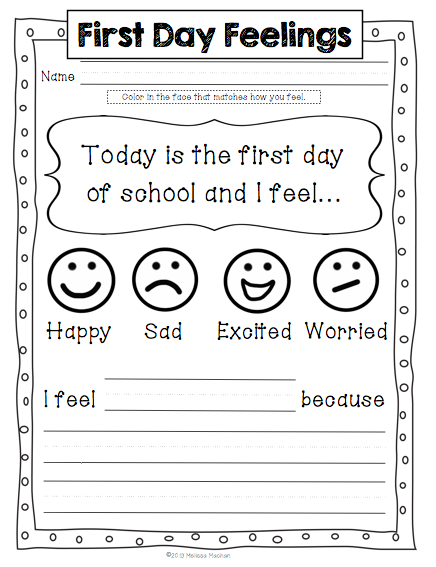 First Day Jitters Worksheets