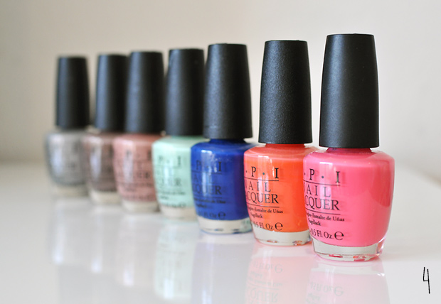 vernis OPI collection rose orange vert bleu taupe gris