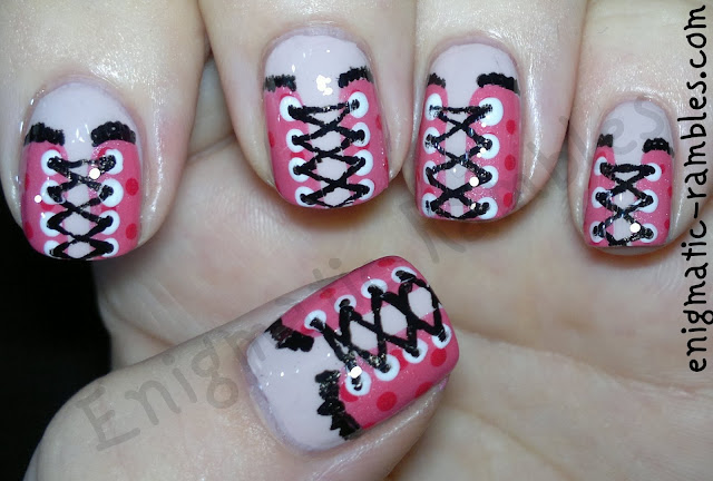 corset-nails-nail-art-Leighton-Denny-Leading-Lady-ELF-Fluorescent-Pink-Hot-Sally-Hansen-Lavender-Cloud-Black-gel-Pen