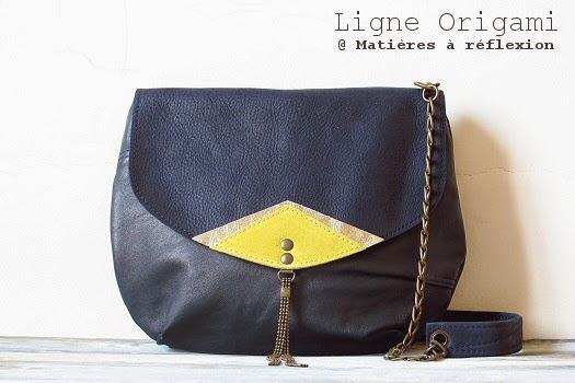 Petit sac retro bleu et jaune : la mini-moon Origami Matières à réflexion