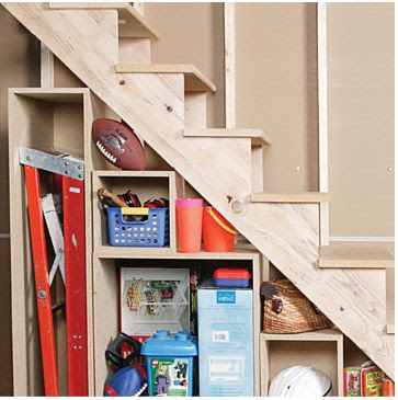Home quotes under stairs storage and shelving ideas part 1 for Basement under garage