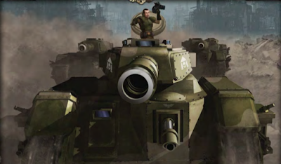 Un líder de escuadrón de Leman Russ conduce a sus tanques