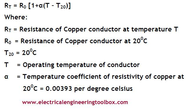 How to determine temperature correction factors for resistance the dc resistance of copper wire increases with increasing temperature in accordance with the formula greentooth Choice Image